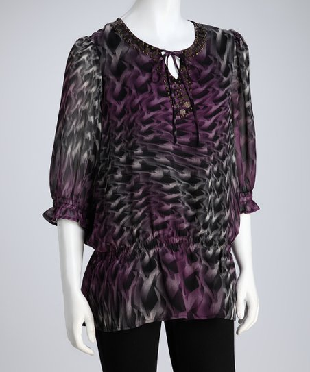 Purple Abstract Tie-Front Tunic