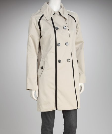 Anne Klein Khaki & Black Trim Peacoat