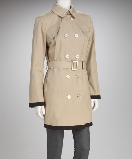 Anne Klein Flax & Black Trim Trench Coat