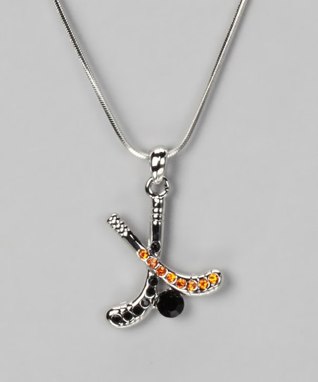 Orange & Black Pendant Necklace
