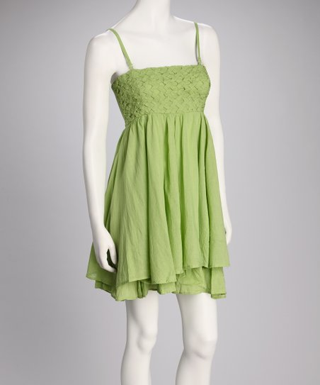 Green Empire-Waist Dress
