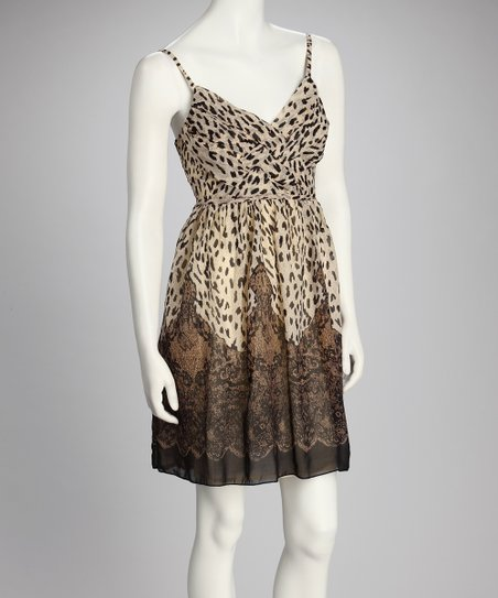 Beige Cheetah Empire-Waist Dress
