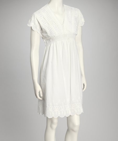 White Empire-Waist Dress
