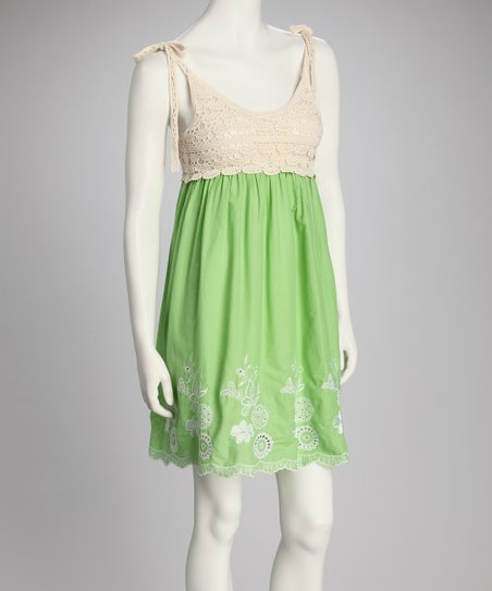 Green Crocheted Top Empire-Waist Dress