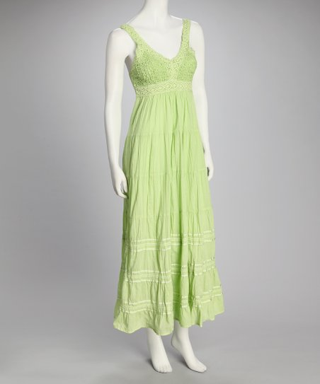 Green Smocked Maxi Dress