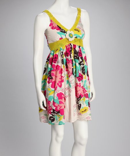 Yellow Floral Empire-Waist Dress