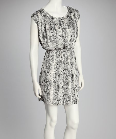 Gray Anaconda Cap-Sleeve Dress