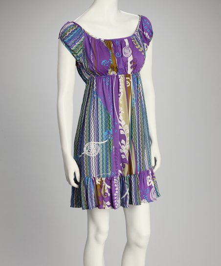 Purple Empire-Waist Dress