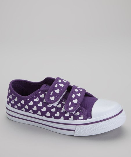 White & Purple Hearts Sneaker