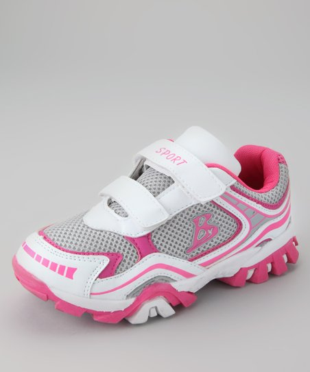 White & Fuchsia Running Shoe
