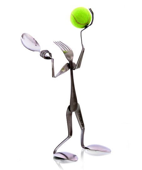 Fork Tennis Player Sculpture