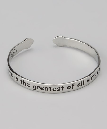 Silver 'Love is the Greatest of All Virtues' Cuff