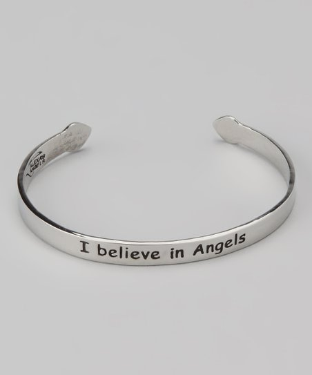 Silver &#039;I Believe in Angels&#039; Cuff