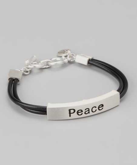 Silver &amp; Black &#039;Peace&#039; Bar Bracelet