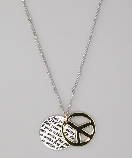Silver & Gold 'Find Peace Within' Icon Pendant Necklace