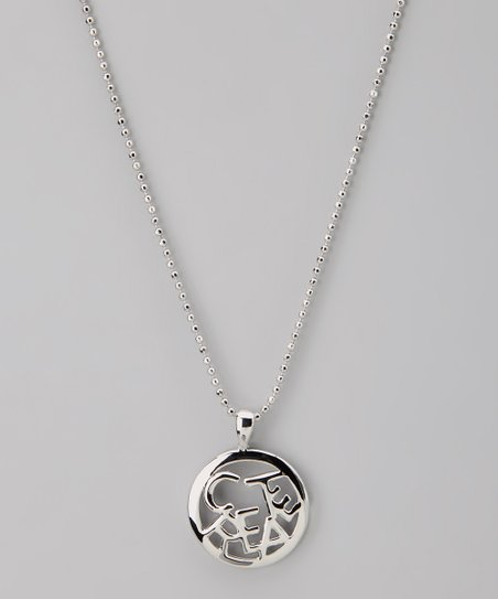 Silver 'Create' Circle Word Necklace