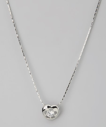 Silver Heart Swarovski Crystal Silhouette Necklace