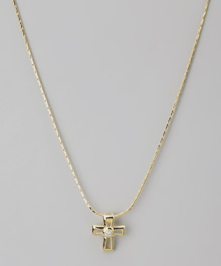 Gold Cross Swarovski Crystal Silhouette Necklace