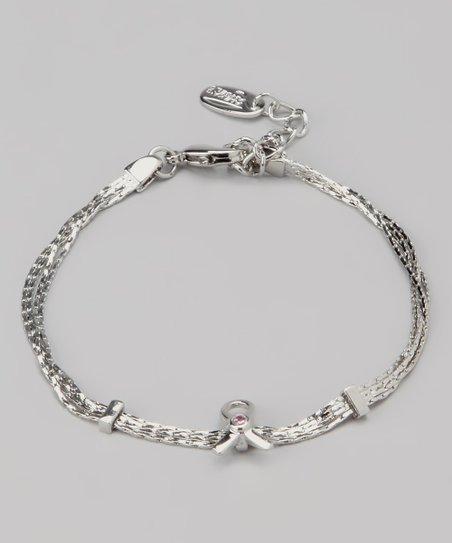 Silver Ribbon Swarovski Crystal Silhouette Bracelet