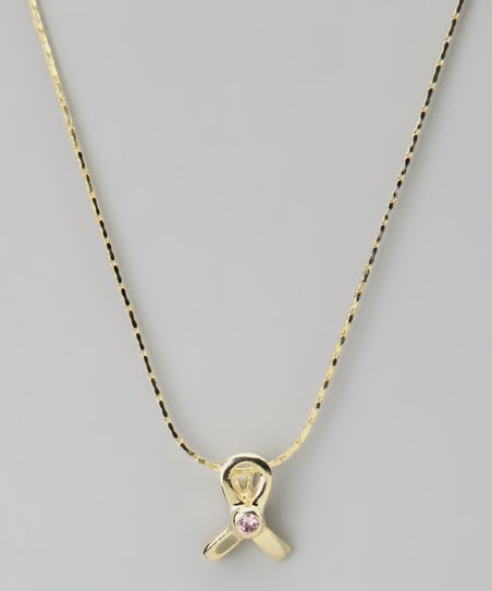 Gold Ribbon Swarovski Crystal Silhouette Necklace