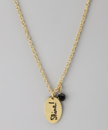 Gold & Black 'Shine!' Pendant Necklace
