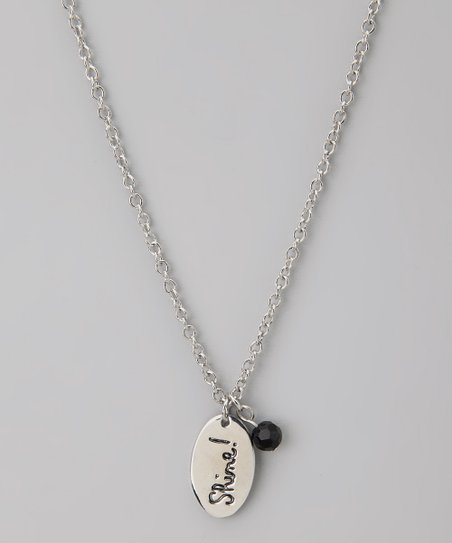 Silver & Black 'Shine!' Pendant Necklace