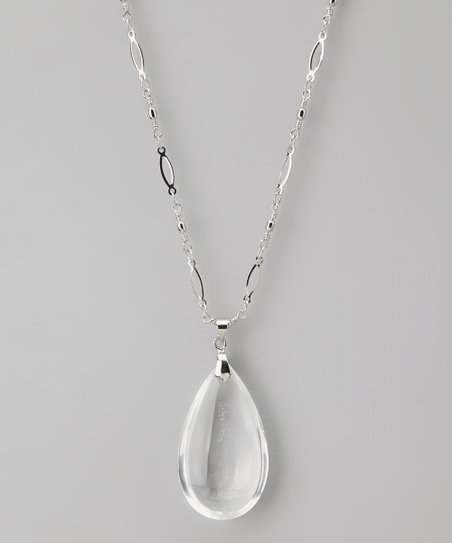 Silver 'Faith' Teardrop Pendant Necklace