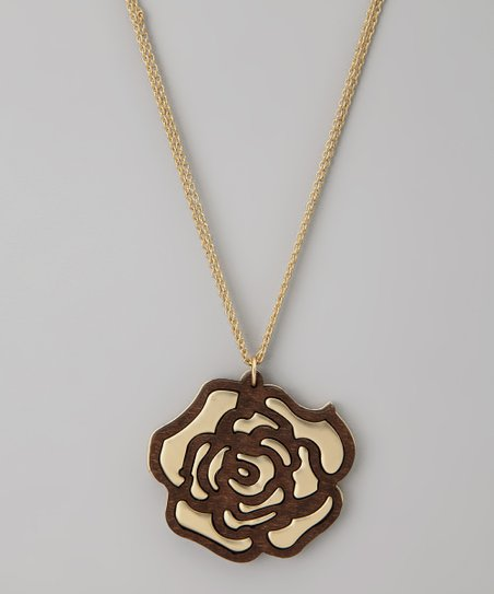 Gold Rose Stencil Pendant Necklace