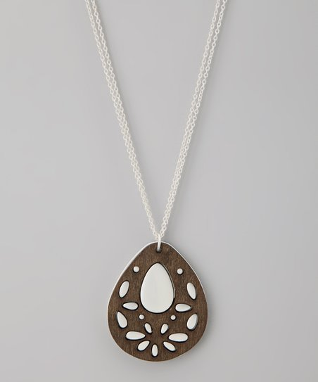 Silver Teardrop Stencil Pendant Necklace