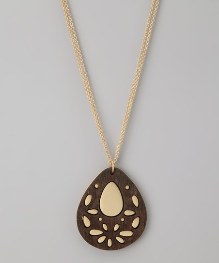 Gold Teardrop Stencil Pendant Necklace