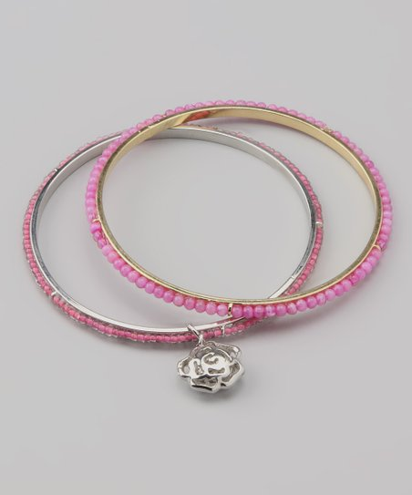 Orchid Rose Charm Beaded Bangle Set
