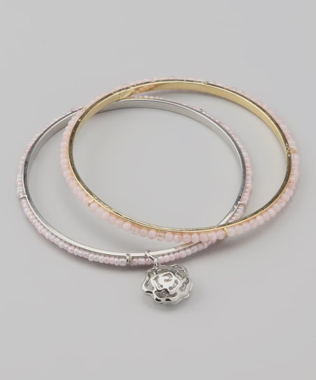 Light Pink Rose Charm Beaded Bangle Set