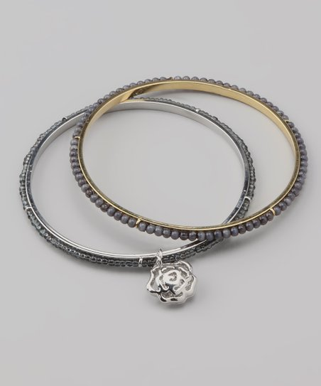 Dark Gray Rose Charm Beaded Bangle Set