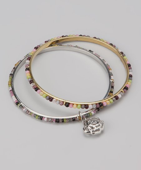 Pink & Green Rose Charm Beaded Bangle Set