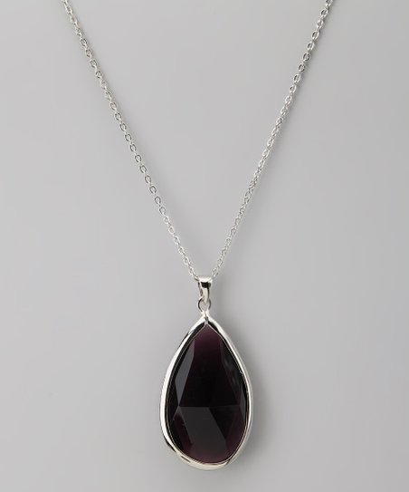 Purple Amethyst Teardrop Pendant Necklace