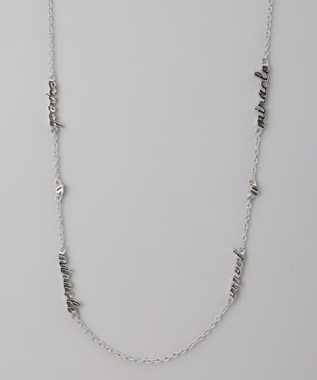 Silver 'Expect a Miracle' Three Word Necklace