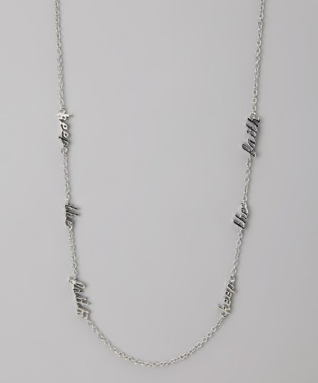 Silver 'Keep the Faith' Three Word Necklace