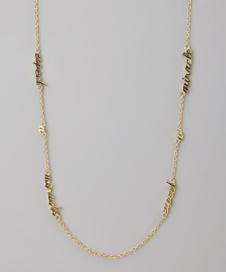 Gold &#039;Expect a Miracle&#039; Three Word Necklace