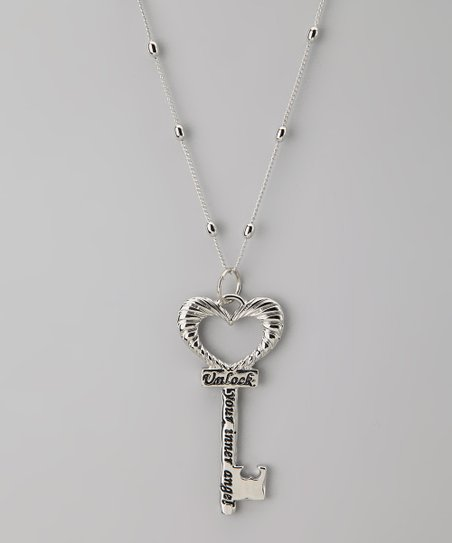 Silver 'Unlock Your Inner Angel' Key Pendant Necklace