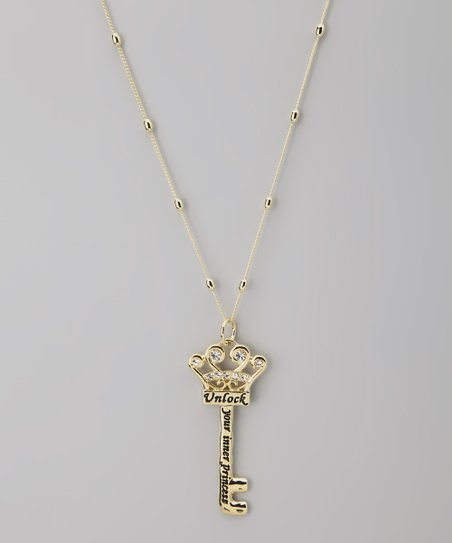 Gold 'Princess' Key Pendant Necklace