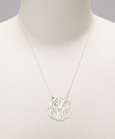 Sterling Silver Medium Monogram Pendant Necklace