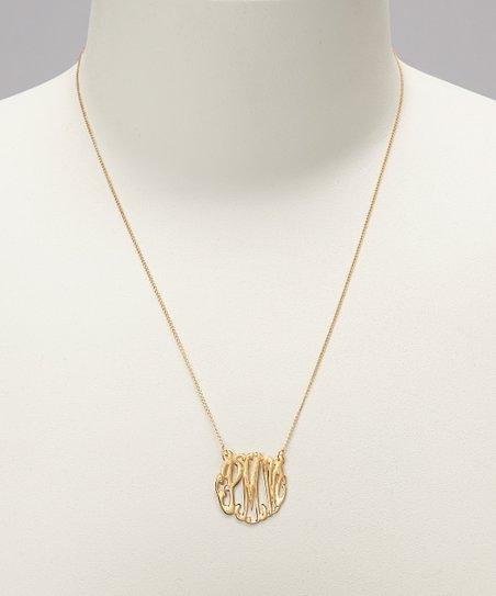 Gold Small Monogram Pendant Necklace