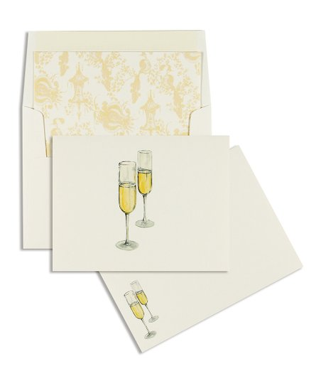 Cid Pear Champagne Glass Classic Note Card Set