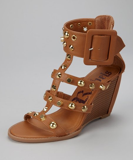 Tan Studded Juno Gladiator Wedge