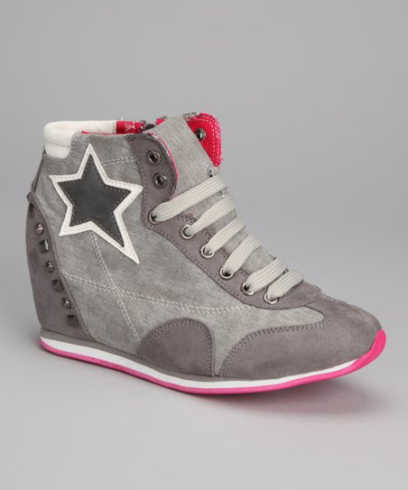 Gray Suede Starlet Hi-Top Wedge Sneaker