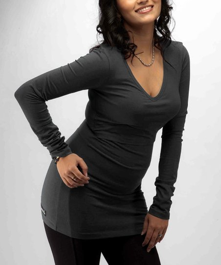 Black Nursing Long-Sleeve Tunic