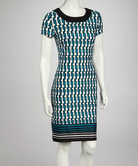Black & Turquoise Tribal Sheath Dress