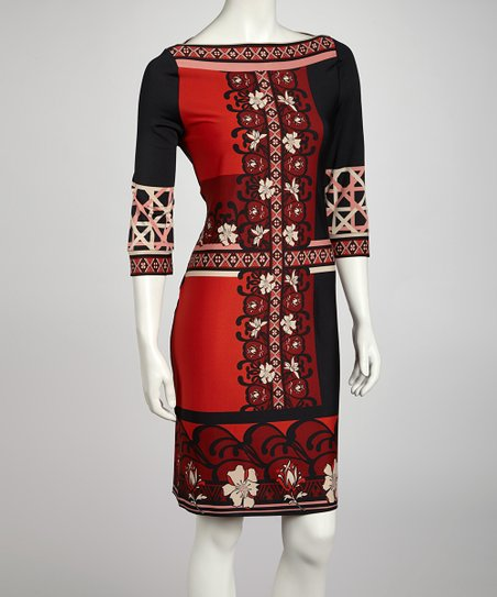 Red & Black Floral Lattice Three-Quarter Sleeve Dress