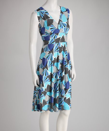 Blue Fan Sleeveless Surplice Dress