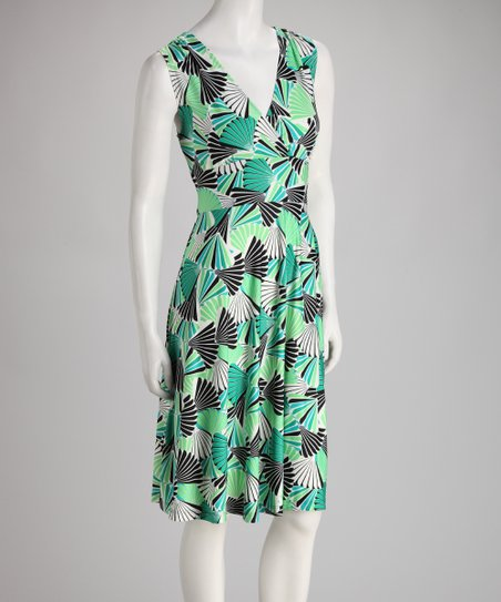 Green Fan Sleeveless Surplice Dress